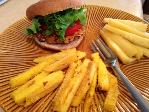 McDougall Curried Sweet Potato Burgers, Polenta Fries and Pineapple Parsnips